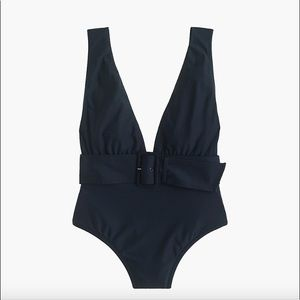 J. Crew Belted Plunge V-neck One-piece Swimsuit
